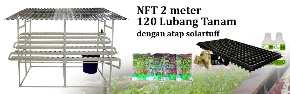 Jirifarm Paket Starterkit Hidroponik NFT 2 Meter 120 Lubang Tanam dengan atapSolartuff