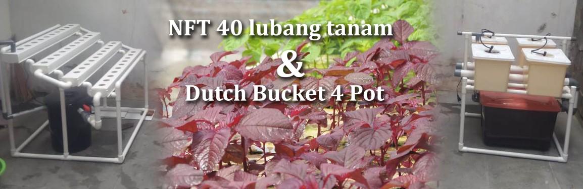 Pengiriman Hidroponik NFT 40 lubang tanam dan Drip Dutch Bucket 4 pot keCengkareng